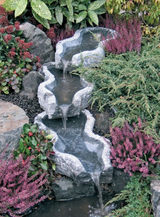 you can turn stones into beautiful vessels that would become the most interesting part of your - Waterfall Landscape Design Ideas
