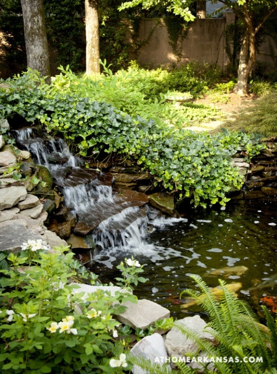 Backyard Waterfalls Ideas modern concrete backyard waterfall Relaxing Backyard And Garden Waterfalls