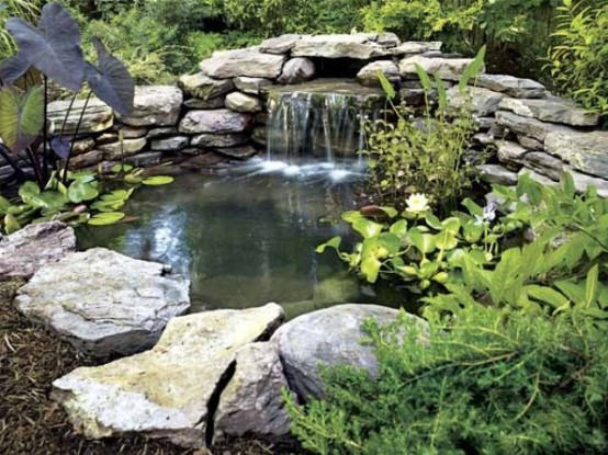 75 relaxing garden and backyard waterfalls digsdigs for Stone koi pond
