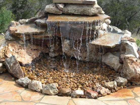 Pondless water fixture made only of natural stones.