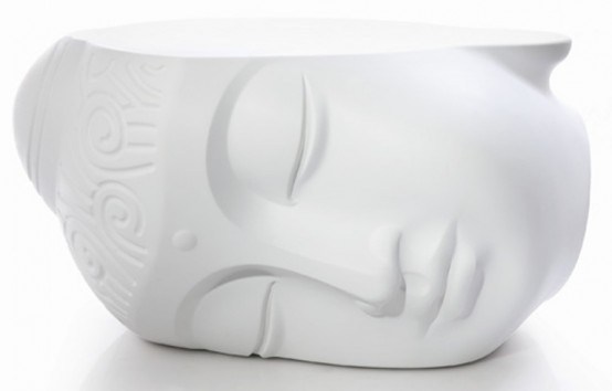 Relaxing Buddha Head Table And Pouf