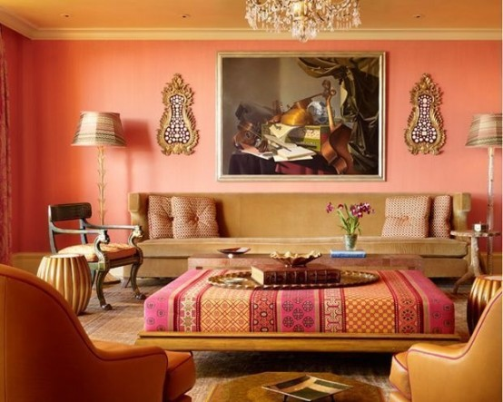 a super colorful Moroccan living room with a bold pattern ottoman for an accent