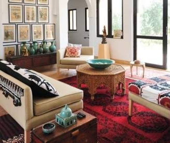 a neutral Moroccan living room with bright textiles and lanterns plus many accessories