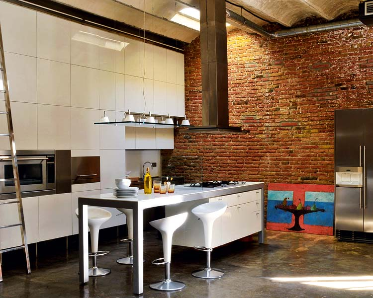 Renovated loft with industrial interior design digsdigs for Industrial modern kitchen designs