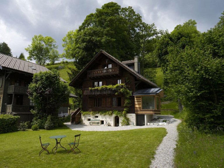 Renovation of a century old chalet in the swiss alps for Swiss chalet house plans