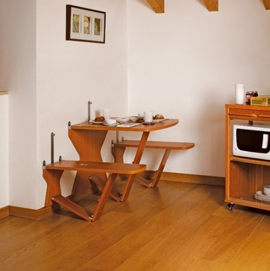 Retractable Table Set For Small Spaces