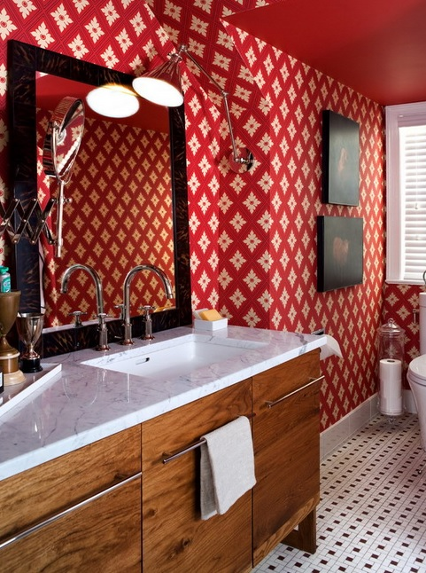 Retro Styled Bathroom Resembling Of A Living Room