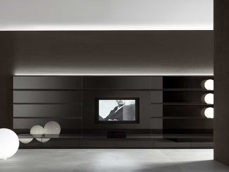 Completely White And Black Living Room Wall Panels