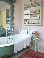 Romantic Bathroom With Pale Pink Walls