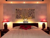 a headboard with inner lights, lights on the ceiling and table lamps are several layers to choose from