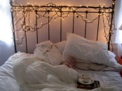 cover the headboard with lights to make it shining and sparkly
