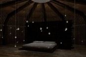 bubble lights hanging all over the bedroom give it a soft and mystical glow