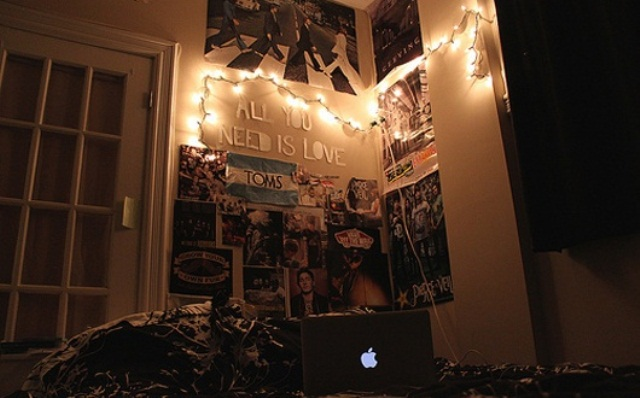 some lights attached to the wall will make your sleeping space dreamy
