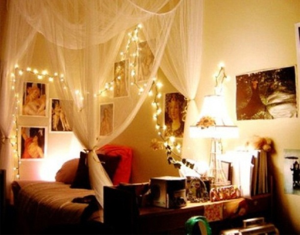 a bedroom with some romantic ambience