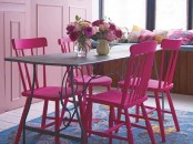 Romantic Dining Area With Pink Chairs