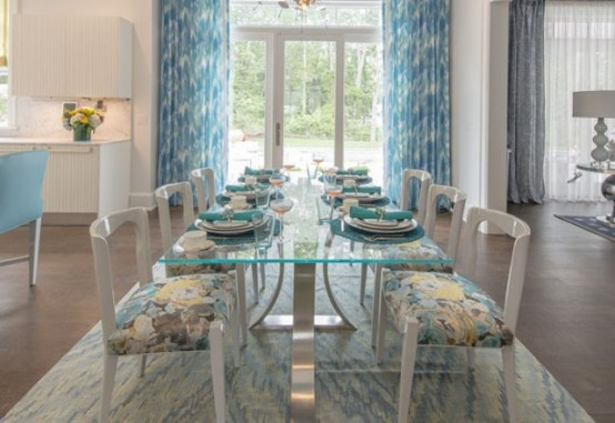 Romantic Kitchen Design With Turquoise Accents
