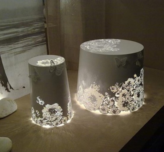 Romantic White Lamp With Butterflies
