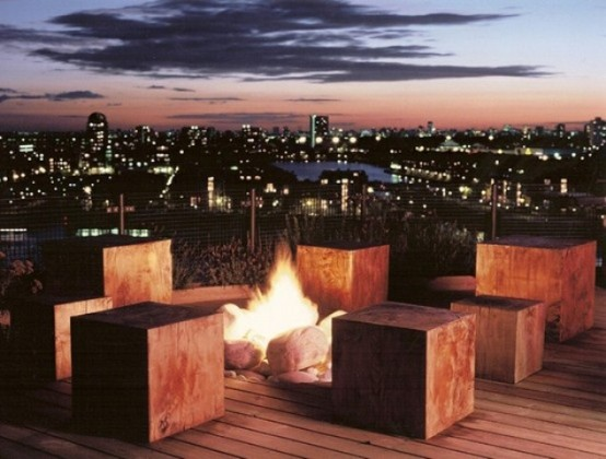 An outdoor pit fire would be a great addition to any rooftop terrace. It'd be great way to spend an evening around it if it's chilly outside.