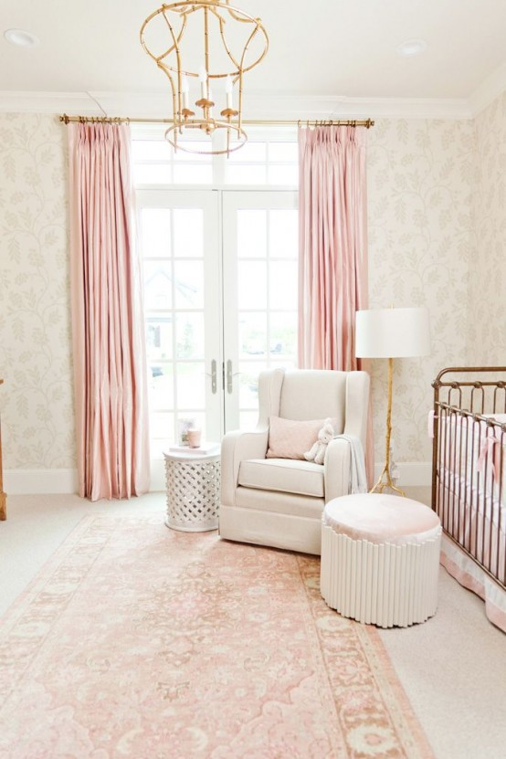 Curtains In The Nursery For Girls Pantone S 2016 Color 28 Rose Quartz Home D Cor Ideas DigsDigs