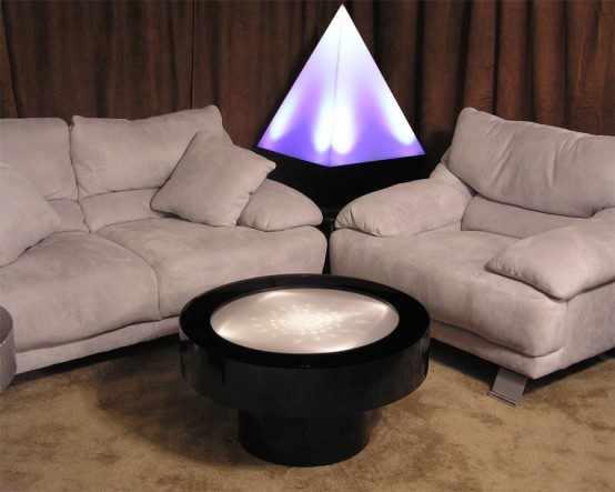 Rotating White Halogens Cocktail Table