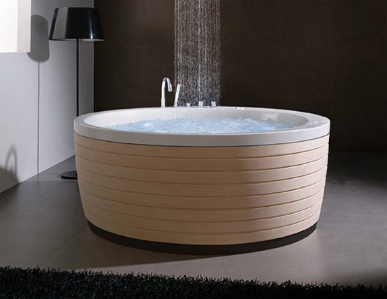 Round Acrylic Bathtub With A Cool Skirt Soleil By