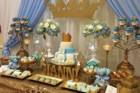 royal-themed dessert table for a boy baby shower