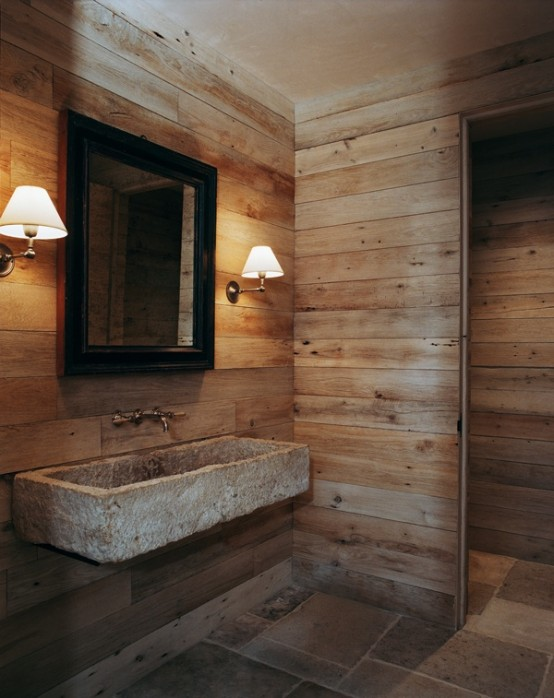 44 rustic barn bathroom design ideas digsdigs - Deco salle de bain bois ...