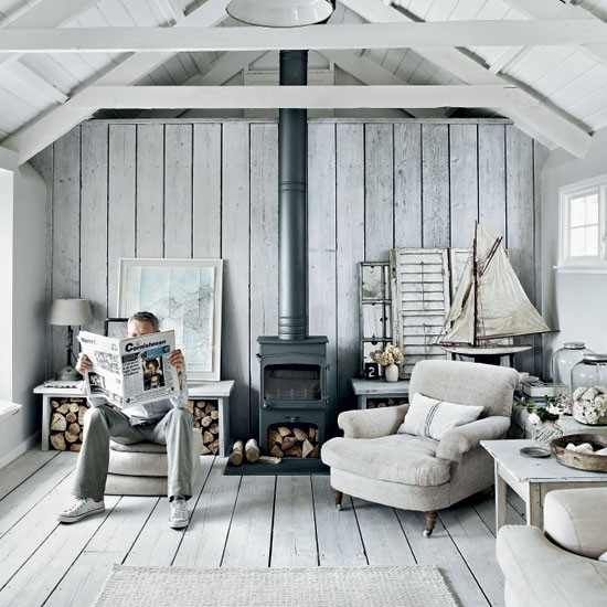 Rustic Coastal House Of Stone Gray Color