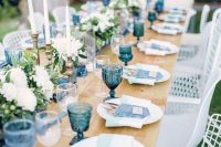 rustic denim table setting for a boy baby shower
