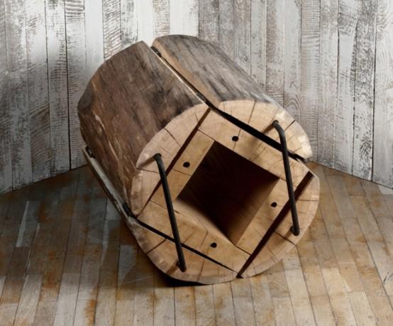 Rustic Eco-Friendly Chair Of An Oak Log