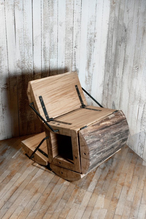Rustic Eco Friendly Chair Of An Oak Log