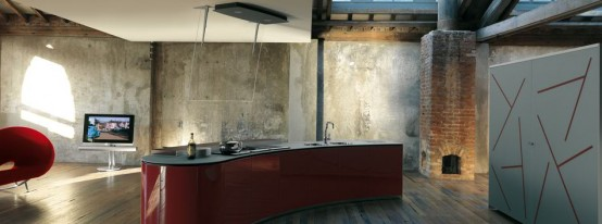 Rustic Modern Red Kitchen