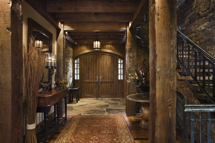 Rustic house design in western style ontario residence for Entrance foyer design