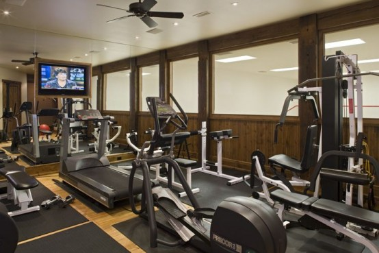 Rustic Traditional House Design In Ontario Gym