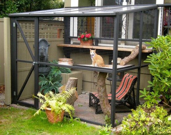 a large catio for several cats, with a shelf, tree branches and stumps, a fountain for drinking and a folding chair