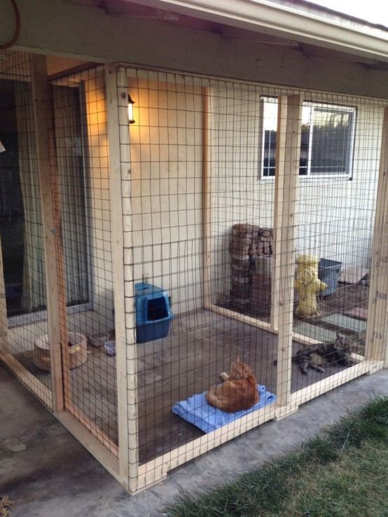 a large cage-like cat patio with a toilet, a scratcher, some bowls and a toilet is a modern space to enjoy fresh air