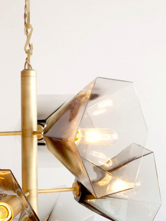 Satin Brass Hand-Blown Chandelier In Earthy Tones