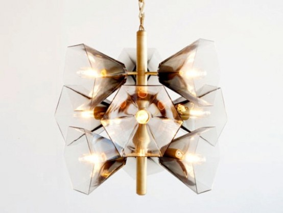 Satin Brass Hand Blown Chandelier In Earthy Tones