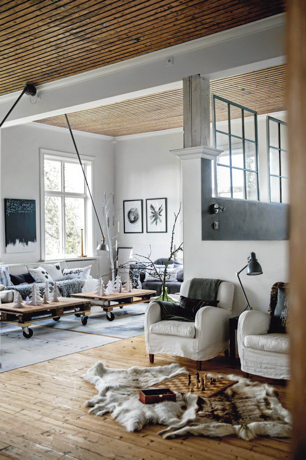 Scandinavian chic house with rustic and vintage features digsdigs - Woonkamer deco ...