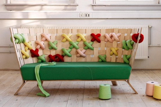 Scandinavian Furniture With Giant Bold Cross-Stitches