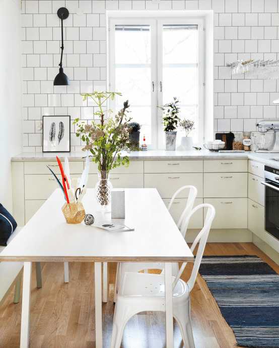 Scandinavian Kitchen Design scandinavian u shaped eat in kitchen in perth with a double bowl sink Scandinavian Kitchen Design With Retro Touches