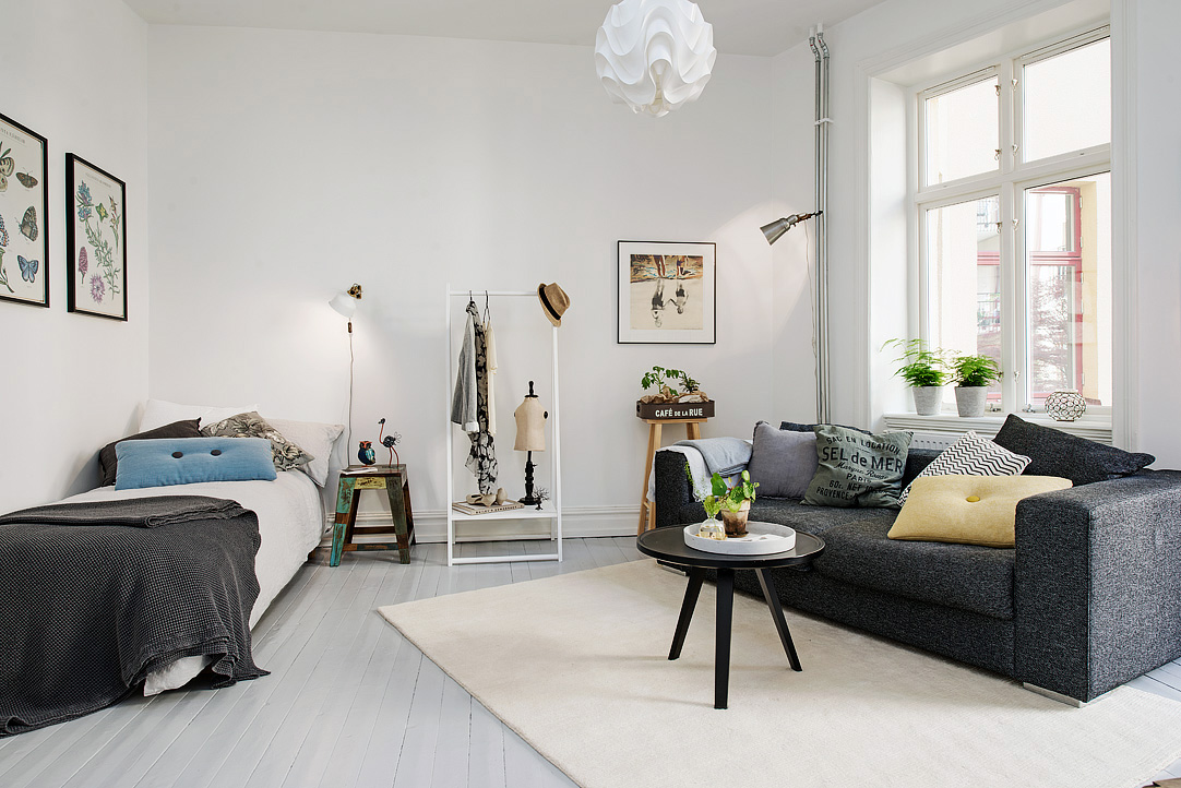 Tue jun 2 2015 scandinavian home designs by kate for Small one room apartment ideas