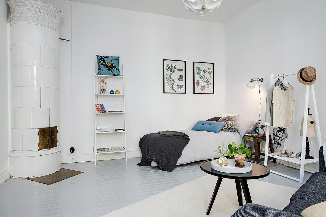 scandinavian one room studio apartment in gothenburg. Black Bedroom Furniture Sets. Home Design Ideas
