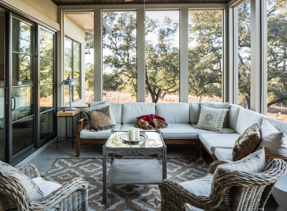 screened porch design in natural colors
