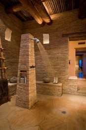 Sculptural Rough Stone Bathroom