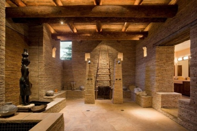 Sculptural Rough Stone Bathroom Design DigsDigs