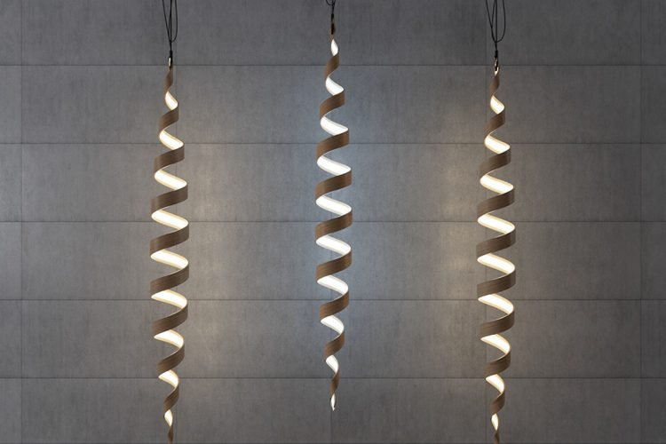Sculptural Spiral Lamp Collection Made Of Veneer