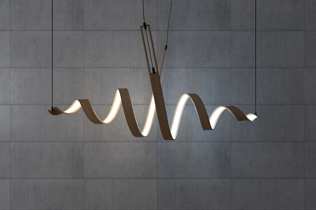Picture Of sculptural spiral lamp collection made of veneer  2