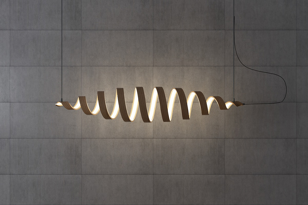 Picture Of sculptural spiral lamp collection made of veneer  3