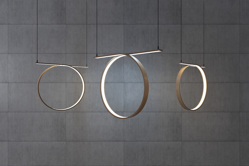 Picture Of sculptural spiral lamp collection made of veneer  4